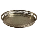 """Marrakesh Tea Time - Marrakesh Tea Time Moroccan Style Engraved Silver Serving Tray Oval & Gift box - Moroccan Tea Silver Tray Engraved Arabic Pattern Design Oval 14"""" x 10"""" x 2-3/4"""" +/-"""