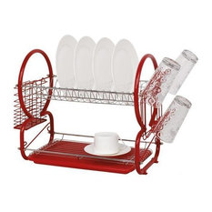 Stainless Steel 2-Tier Dish Drainer With Cutlery Drainer and Glass Rack, Red