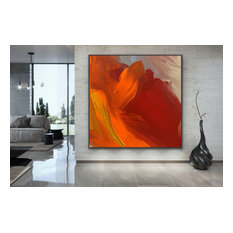 'Attractive' 48x48 inches Original red orange Large Modern abstract Art
