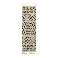 "Nourison Moroccan Marrakesh Shag Area Rug, Cream, 2'2""x8'1"""
