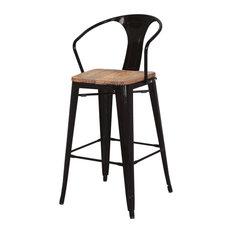 Ryker Metal Bar Stool Wood Seat Black (set Of 4)