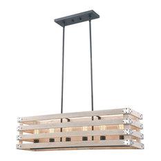 """Rustic Wood In Oak Color 6-Light Pendant, No Bulbs 37 7/8""""X 10 3/8"""""""