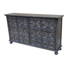 Crestview Rutledge Antique Gray 4-Door Pattern Front Sideboard