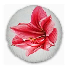 "Big Red Flower Sketch on White Floral Throw Pillow, 20"" Round"