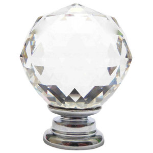 Large Clear Crystal Cut Faceted Glass Knob