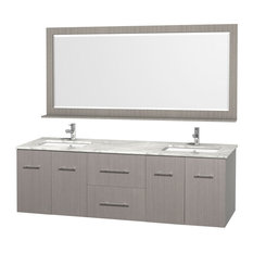 Double Bathroom Vanity Set, Gray Oak With White Carrera Top With Square, 72""