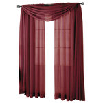 """Royal Tradition - Abri Single Rod Pocket Sheer Curtain Panel, Burgundy, 50""""x84"""" - Want your privacy but need sunlight? These crushed sheer panels can keep nosy neighbors from looking inside your rooms, while the sunlight shines through gracefully. Add an elusive touch of color to any room with these lovely panels and scarves. Sheers enhance the beauty of windows without covering them up, and dress up the windows without weighting them down. And this crushed sheer curtain in its many different colors brings full-length focus to your windows with an easy-on-the-eye color. These rod pocket crushed sheer panels are versatile enough to go from simple to elegant easily. The Abripedic Crushed Sheer Curtain panels are soft to the touch and adds a breezy relaxed look to any sort of d̩cor. This beautiful, solid-colored sheer curtain lets light gently filter through. Clean, simple one-pocket pole top design can be used with a standard or decorative curtain rod."""