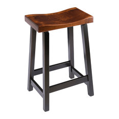 Urban Rustic Saddle Bar Stool Maple Wood Two Tone Counter Height 24-inch