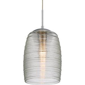 Luxury Chrome Ribbed Glass Pendant Light, UQL2644, San Sebastian Collection