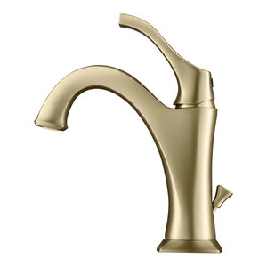 Kraus Arlo Brushed Gold Bathroom Faucet with Lift Rod Drain and Deck Plate