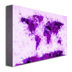 """World Map - Purple Paint Splashes"" Giclee Canvas Art by Michael Tompsett - 16 x"