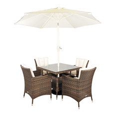 Savannah Stylish Rattan 4-Seat Square Dining Set, 90cm