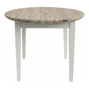 Contemporary Round Extended Table, Hardwood With Oak Finished Tabletop, White