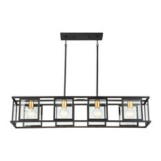 """Nuvo Lighting 60/6417 Payne 4 Light 42"""" Wide Linear Chandelier with Clear Bevel"""