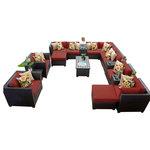 TK Classics - Bermuda Outdoor Wicker 17-Piece Patio Set, Terracotta - *Please Note*