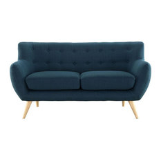 Wiley Upholstered Fabric Love Seat/Azure
