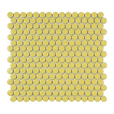"12""x12.63"" Penny Porcelain Mosaic Tiles, Set of 10, Buttercup"