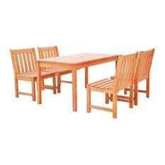Malibu Eco-Friendly 5-Piece Outdoor Hardwood Dining Set