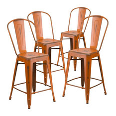 24-inch High Distressed Orange Metal Indoor Counter Stools With Back Set Of 4