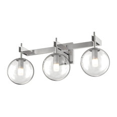 Courcelette 3-Light Vanity, Chrome With Clear Glass