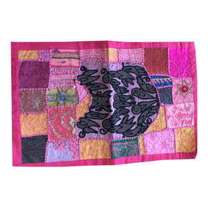 Mogul Interior - Pink Vintage Throw Kutch Embroidered Tapestry Wall Throw - Tapestries