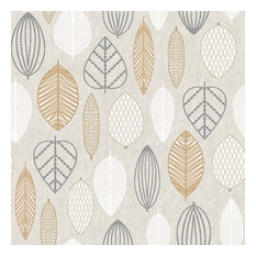 Copper Scandi Leaf Floral Wallpaper, Roll