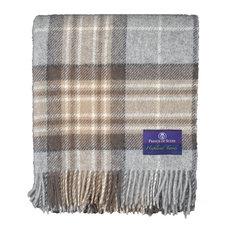 Prince of Scots Highland Tweed Pure New Wool Throw ~ McKellar Tan Plaid ~