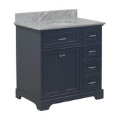 "Aria Bathroom Vanity, Base: Charcoal Gray, 36"", Top: Carrara Marble"