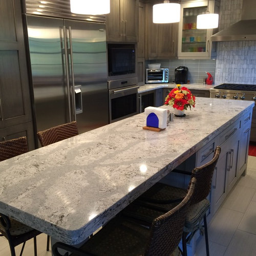 Cambria Quartz Summerhill on Grey Cabinets