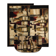"""Wine and Glasses Brown Rug Set, Contains 20""""x45"""", 30""""x46"""" and 18""""x30"""" Slice"""