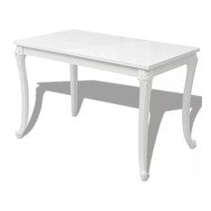 VidaXL Dining Table 45.7-inch High Gloss White Dinner Table Home Kitchen Desk