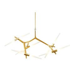 10-Light Modern Metal Chandelier Glass Tree Branch Gold Decor