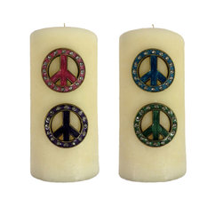 Wilco Home Set Of 4 Pewter Jeweled Peace Sign Candle Pins Candleholders