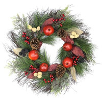 """24"""" Autumn Harvest Mixed Pine Berry and Nut Thanksgiving Fall Wreath, Unlit"""