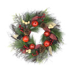 "24"" Autumn Harvest Mixed Pine Berry and Nut Thanksgiving Fall Wreath, Unlit"