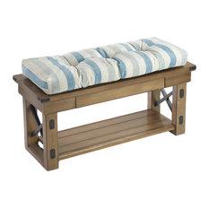 "The Gripper - Gripper Liza Coastal Stripe 36"" Extra Thick  Non Slip Bench Cushion - Seat Cushions"