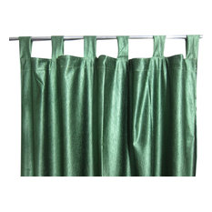 Mogul Interior - Two Pine Green Window Curtains Indian Sari Drapes Panel - Curtains