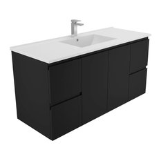 - 120cm Black Wall Hung with Ceramic Top - Bathroom Vanities
