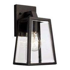 "Obsidian 1-Light Wall Lantern, Black With Clear Glass, 5.5""x6""x10"""