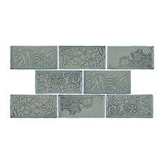 "3""x6"" Antiguo Feelings Ceramic Wall Tiles, Set of 8, Griggio"