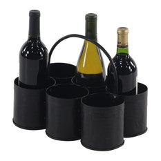 "Farmhouse 5""x12"" Gray Iron Si""x-Bottle Wine Holder"