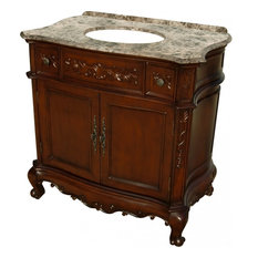 36 Inch Small Mahogany Bathroom Vanity with Single Sink, Marble Top, Traditional