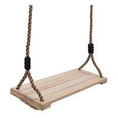 Wooden Swing, Outdoor Flat Bench Seat, Adjustable Nylon Rope