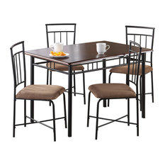 Peronell 5-Piece Wood And Metal Dining Set Deep Walnut