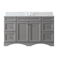 "Talisa 60"" Single Bathroom Vanity,Grey,Marble Top,Round Sink"