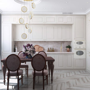 Design ideas for a mid-sized transitional l-shaped eat-in kitchen in Moscow with light hardwood floors, beige floor, an undermount sink, raised-panel cabinets, beige cabinets, quartzite benchtops, pink splashback, panelled appliances, no island and pink benchtop.