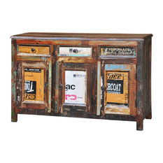 VidaXL Reclaimed Wood Cupboard Cabinet Sideboard, 3-Drawer and 3-Door