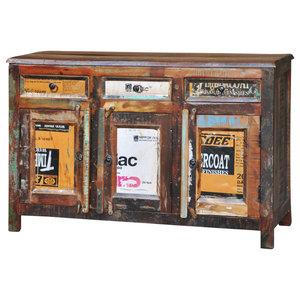 VidaXL Reclaimed Wood Cupboard Cabinet Sideboard, 3-Drawer and 3-Door