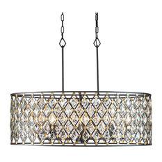Windsor 8 Light Crystal Oval Linear Pendant, Carbon/Havana Gold