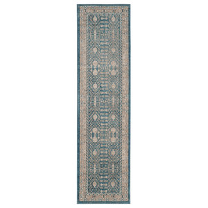 Therasia Distressed Hallway Runner, Blue and Beige, 66x182 cm